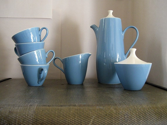 vintage periwinkle blue ceramic coffee service with white guts