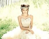 Ethereal Ruffle Wedding Skirt - Bonzie Signature Full Long Tulle Bridal Skirt in Antique Tea Stain