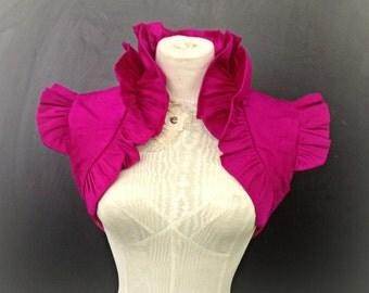 Cerise Pink Ruffled Silk Carina Bolero