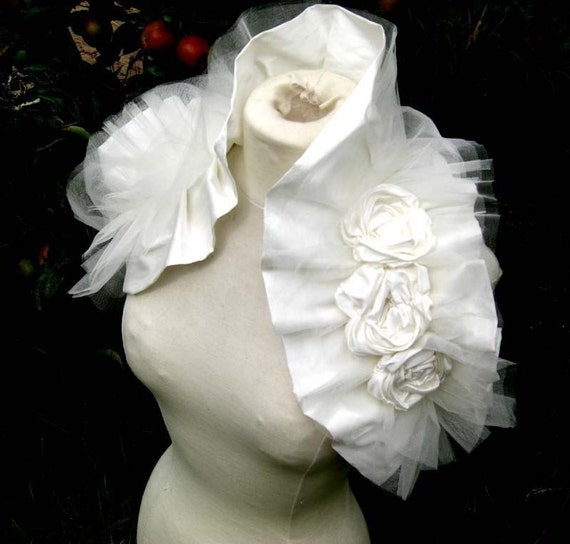 French Vanilla Wrap - Ruffled Vintage Inspired Ivory Silk and Tulle Shrug with handmade Corsage Flowers