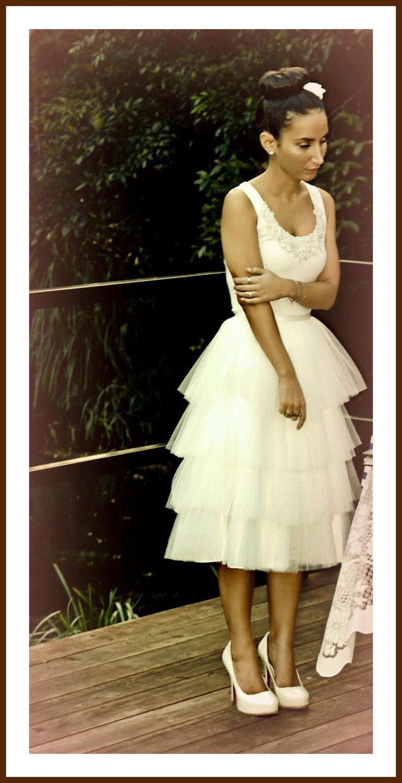 Tea length tiered ivory tulle tutu bridal skirt vintage for Tea length wedding dress tulle skirt