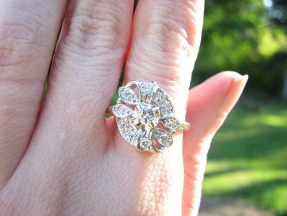 RESERVED for James - Deco - Retro 14K Gold Diamond Ring - Pretty Floral and Ribbon Design - Approx. .50 carats