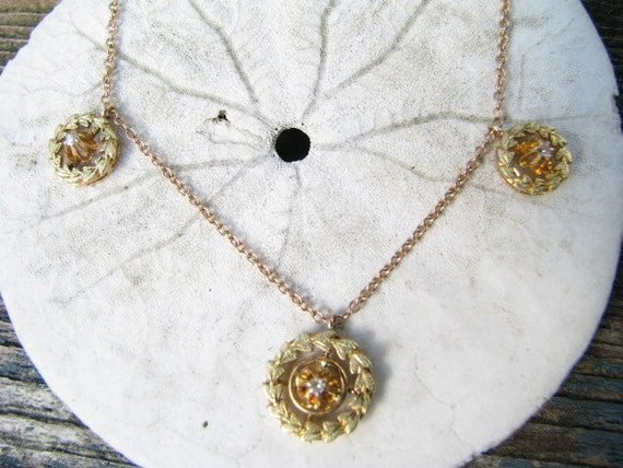 Lovely Victorian to Art Deco 14K Gold Diamond Leaf Design Swag Necklace with Rosy Yellow and Green Gold