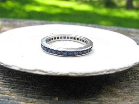Pretty Art Deco Platinum Square Cut Blue Sapphire Eternity Ring