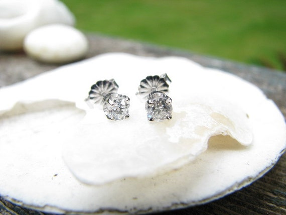 RESERVED for A. - Sweet and Fiery 14K White Gold Old Mine Cut Diamond Stud Earrings  - Approx .48 carat - Free Shipping