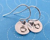 Tiny Little Coffeecup Earrings Hand Stamped Sterling Silver