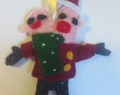 Felt Together Forever Conjoined Twins Christmas Ornament