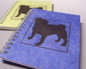 Pug Spiral Notebook - You Choose Cover Paper Color - Personalize It - Ecofriendly