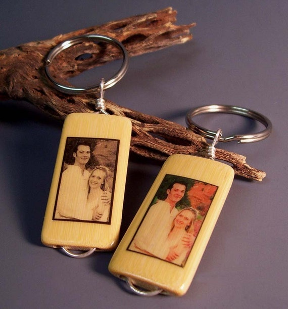 Your Lovey Dovey Photo on Our Bamboo Tile Eco Keychain Equals Pure Sappiness