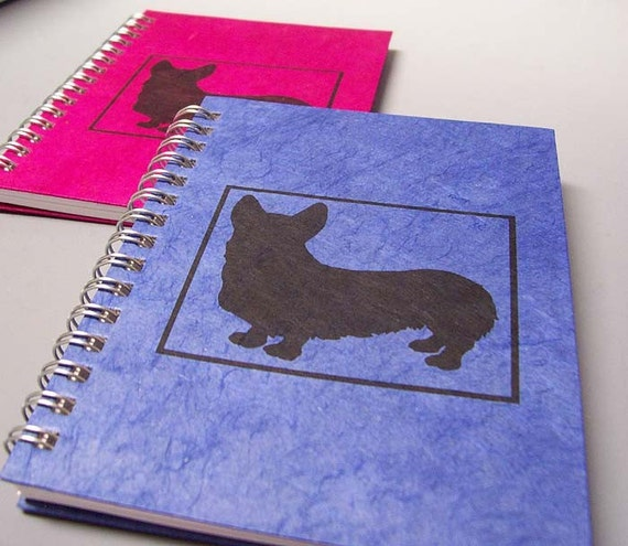 Corgi Spiral Notebook - Large Size - You Choose Cover Paper Color - Personalize It - Ecofriendly