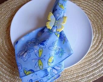 Light Blue Napkins, Butterfly Napkins