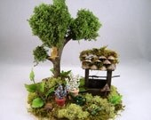 Miniature Wishing Well Garden for Dollhouse or Shelf Display
