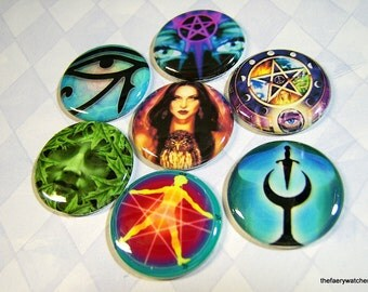 Pagan Magnets, Pagan Pins, Pagan Flatbacks, Wiccan Magnets, Wiccan Pins, Wiccan Flatbacks, Pagan Gift, New Age, Metaphysical 12 ct.