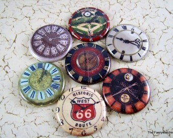 One Inch Vintage Watch Face Flatbacks, Pins, or Magnets 12 ct.