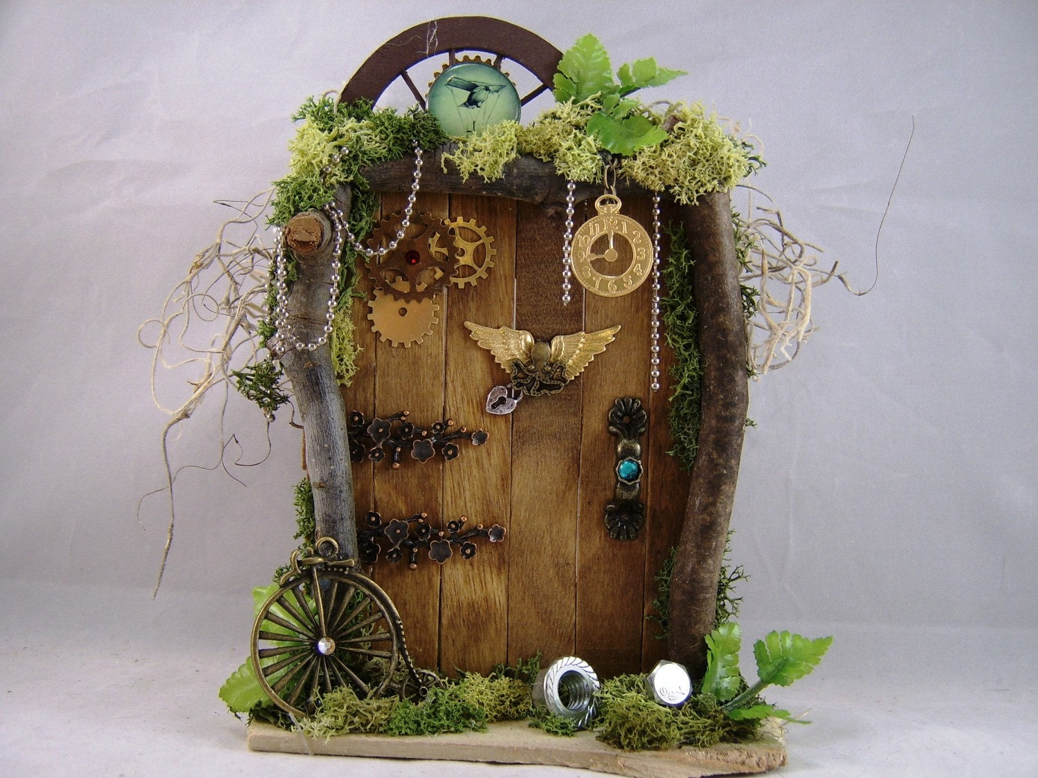 Steampunk fairy door for Fairy house doors