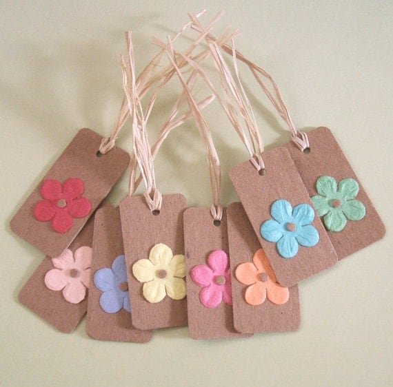 PIF RESERVED FOR kidnaroundcreations - Tags - Flowers - Set of 8 - t05