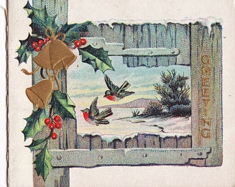 Antique Small Christmas Card - with birds and rustic wood