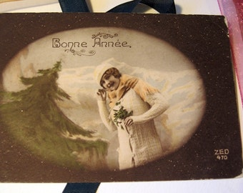 Vintage French Postcard Bonne Annee Happy New Year from Paris Hand Tinted