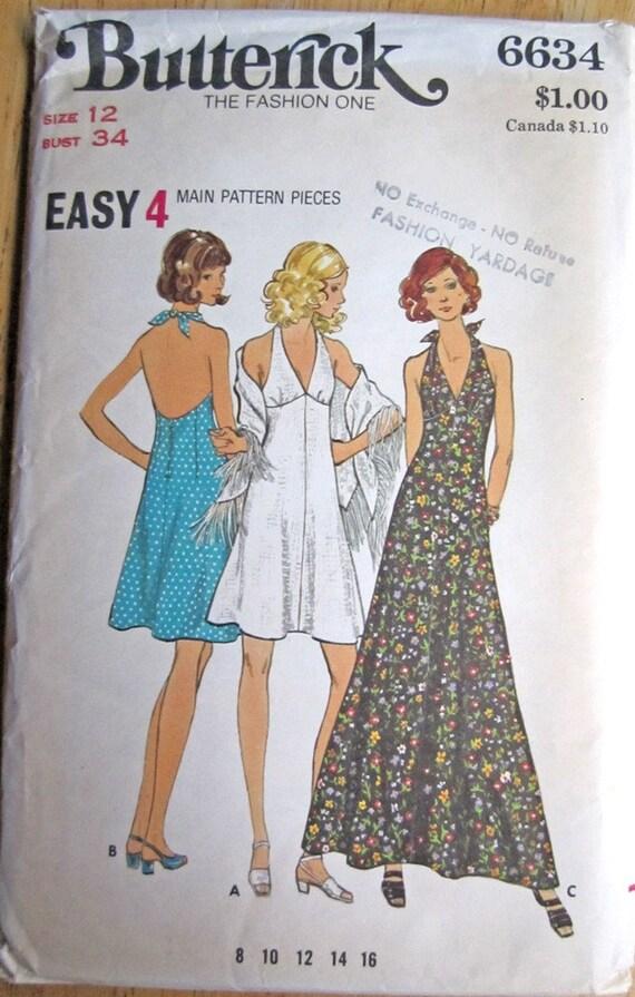 Vintage Sewing Pattern - Halter Dress Size 12