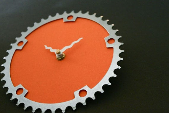 persimmon recycled bike clock