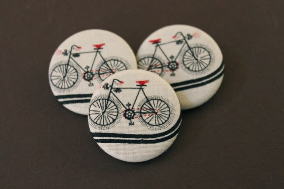 Bicycle Buttons | Set of 3 | Bike Fabric Buttons | Black Bicycle Print