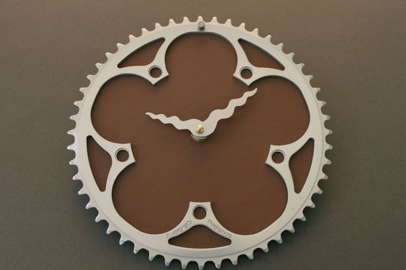 bicycle clock - brown leather