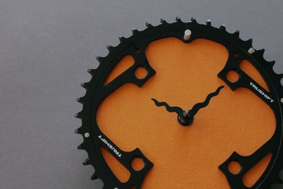bicycle clock - mountain orange