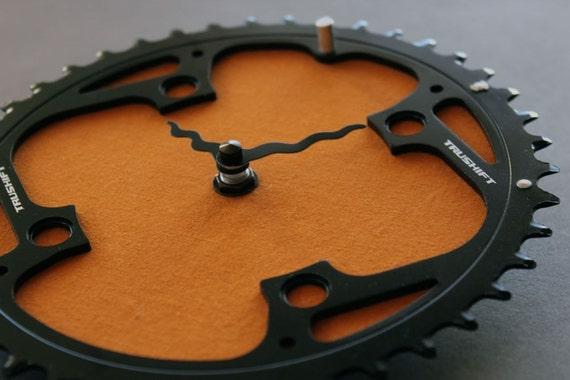 bicycle clock - mountain orange