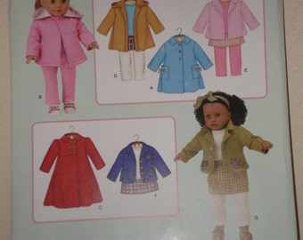 GIRL DOLL Clothes Pattern Simplicity 3551 Red Coat, Jacket, Skirt, Leggings Elaine Heigl Designs Uncut