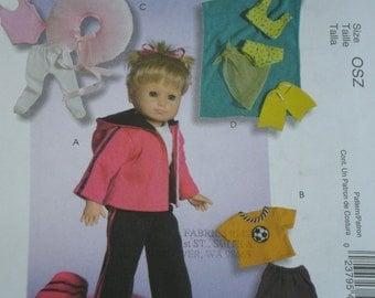 18 inch  DOLL Clothes Pattern McCalls 4896, Jogging  Soccer  Ballet , Swim Suit Uncut