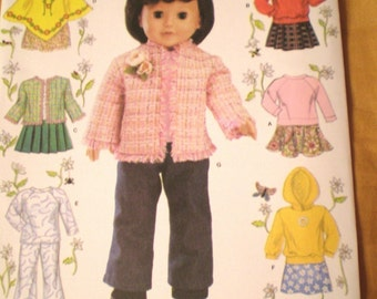 DOLL Pattern 18 in. Doll Pants Skirt Jacket  Sweatsuit New Uncut Simplicity 4297
