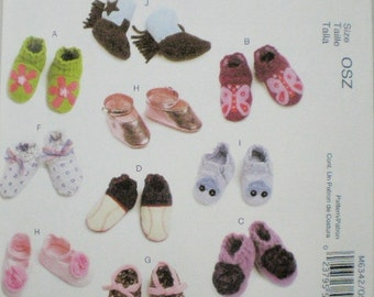 McCall's Pattern 6342 Baby Shoes Booties 3 Sizes NEW Uncut