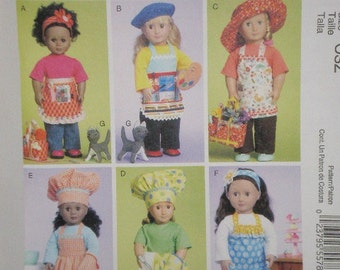 """McCall's Pattern 6451 18"""" Doll Clothes - Girl.Apron,Chef Hat, Oven Mitt Uncut"""