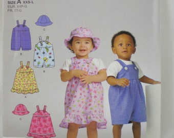 SIMPLICITY 2672  Boy and Girl Toddler Jumper Romper Hat NEW PATTERN