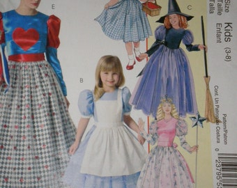 Halloween Costume Pattern Wizard of Oz, Alice  Wonderland, Queen of Hearts, Dorthy, Good Witch, Uncut  McCalls 4948 Siz Sm-Xlg  Or SIZE 3-8