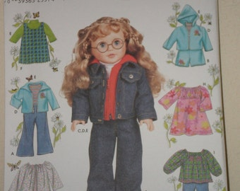 18 inch Doll Clothes Sewing Pattern Simplicity 1580 Top, Jumper, Jacket, Dress, Nightgown, Pants UNCUT