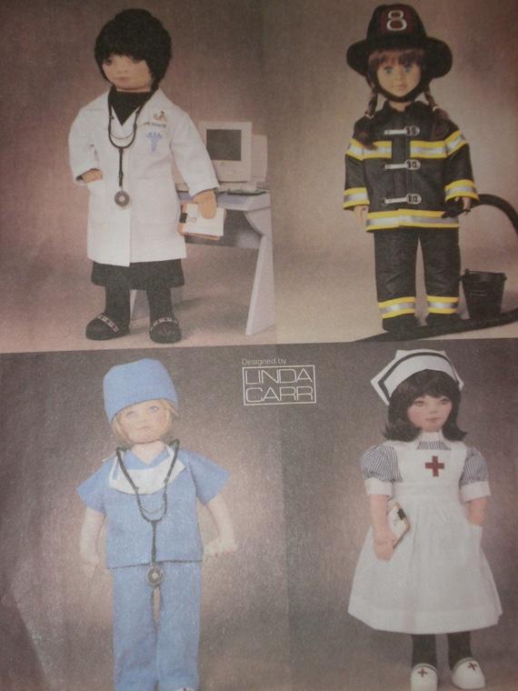 AMERICAN GIRL DOLL CLOTHES UNIFORMS PATTERN VOGUE 7678 NURSE DOCTOR FIREMAN  LABCOAT