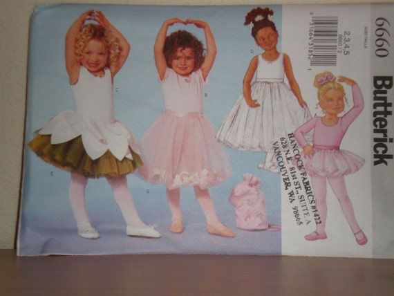 Sewing Pattern Butterick 5545  Girls TUTU, LEOTARD, DANCE Bag  Size 2-3-4-5 new uncut
