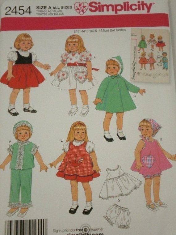 Simplicity 2454 Vintage Dresses, Skirt, Vest, Pajamas, Coat, Hat, Pinafore, Slip and Panties for 16 and 18 Inch Dolls