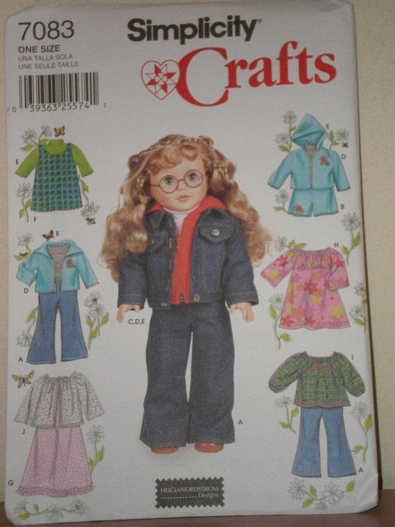 AMERICAN GIRL DOLL Sewing Pattern Simplicity 7083 Top, Jumper, Jacket, Dress, Nightgown, Pants Uncut