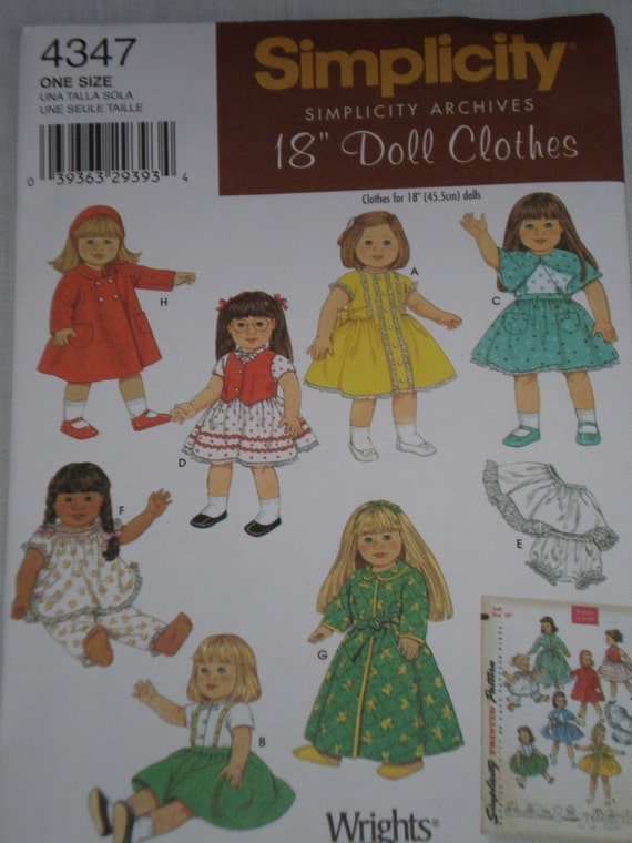Simplicity Archives 4347 Vintage 50s doll clothes pattern for 18 inch doll, American Girl Doll NEW UNCUT