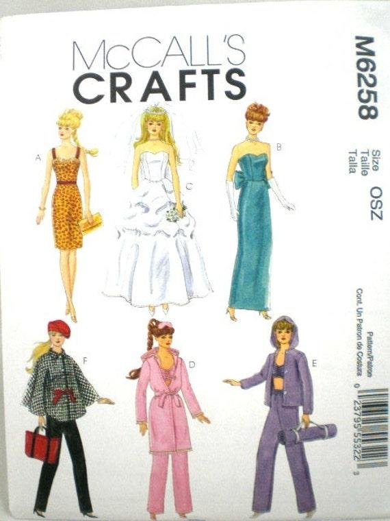 Barbie Clothes Pattern McCalls 6258  Dress, Wedding Gown, Evening Wear, Yoga Uncut