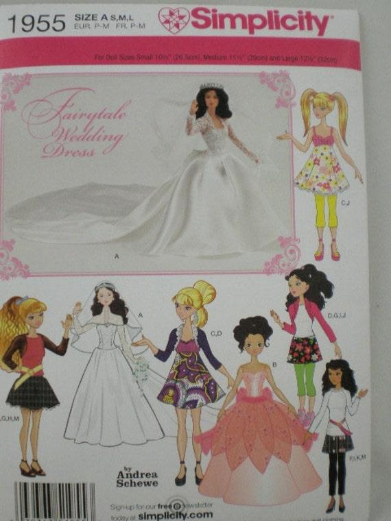 Doll Pattern 3 Sizes Small Fashion Dolls Bratz Moxie Barbie Simplicity 1955 Pattern 7 Designs