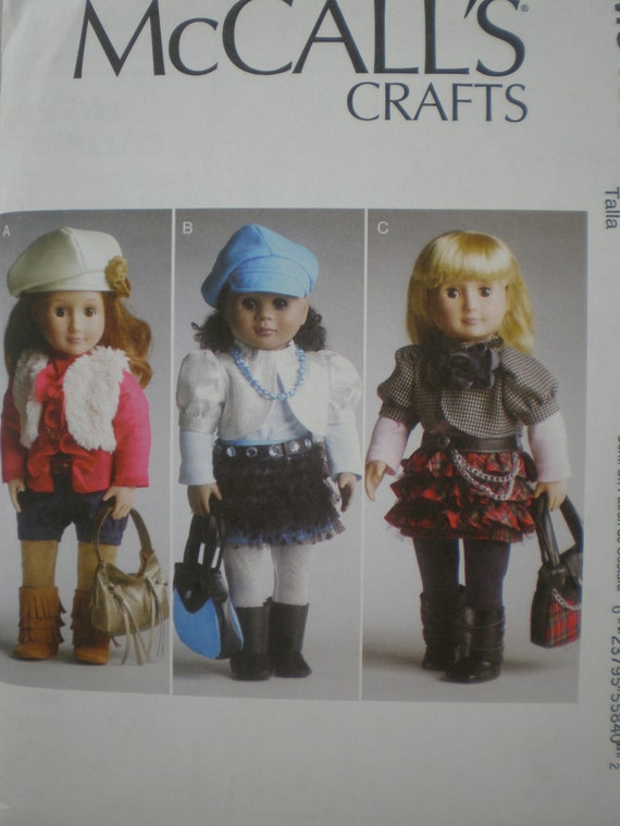 American Girl Doll Clothing Boots Hats Shoes Socks Bags Pattern  McCalls 6480 New Uncut