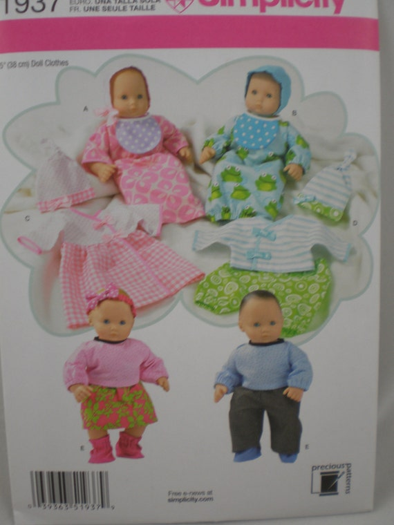 Simplicity 1937 15 Inch Baby Doll Clothes Pattern Great for Bitty Baby American Girl Doll New Uncut