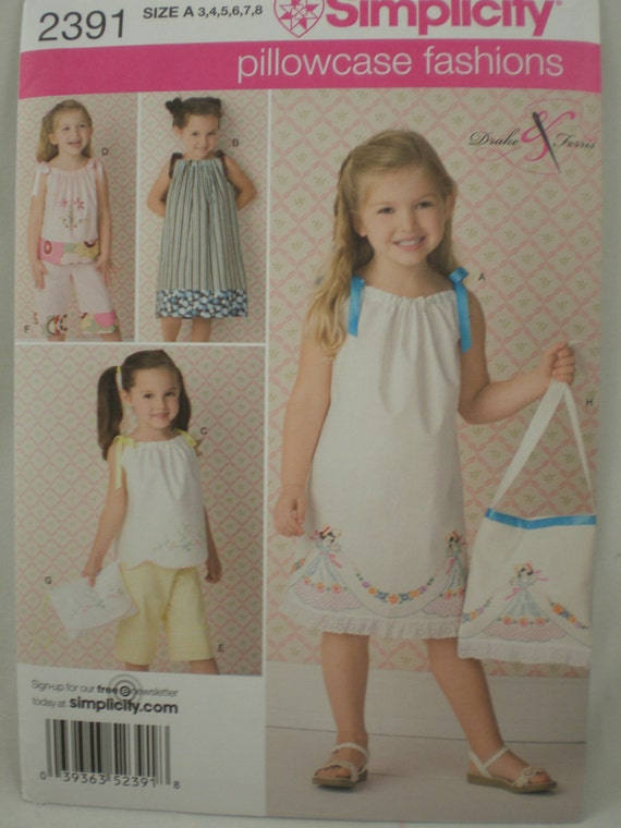 Simplicity 2391 Girls Pillowcase Dress Pants Pattern size 3-8 Pillowcase Fashions New Uncut