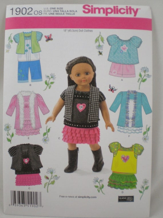 "Simplicity 1902 18"" AMERICAN GIRL Doll Clothes SEWING Pattern Coat Skirt Pants New Uncut"