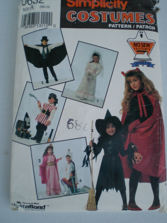 Halloween Costume No Sew Bride Princess Witch Vampire Knight Pirate Sz Sm-Lg 2-12 Simplicity 0632 Uncut