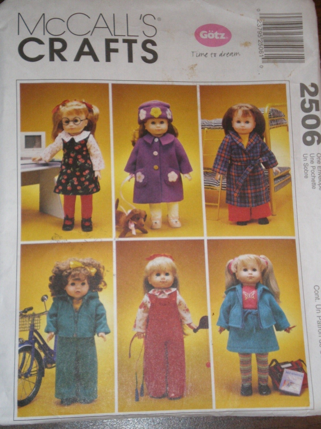 American Girl Doll Clothes Pattern Mccalls 2506 Gotz Doll