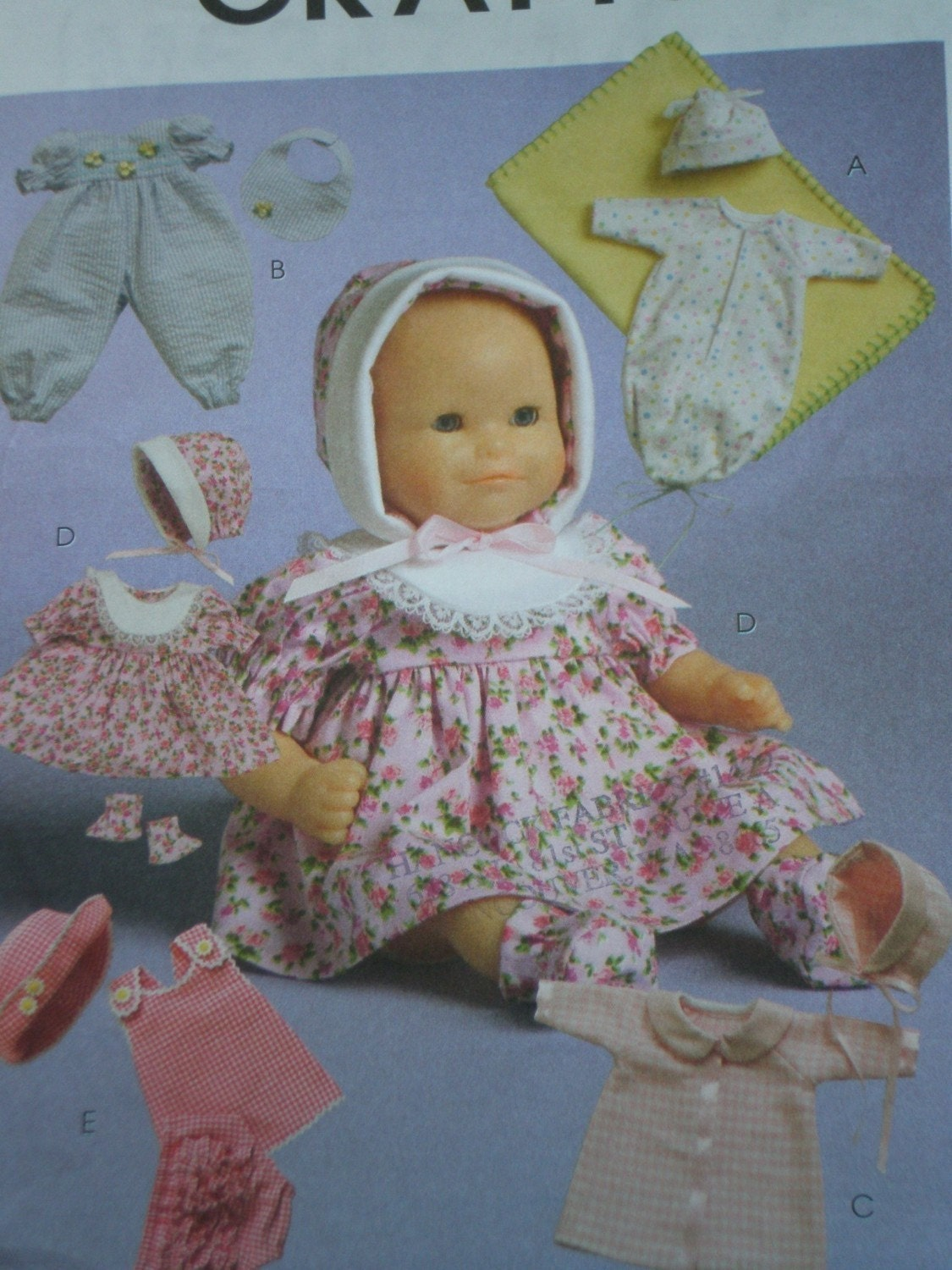 AMERICAN GIRL DOLL CLOTHES PATTERN MCCALLS 5347 BITTY BABY